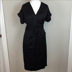 J. Crew • Black Satin Wrap Dress